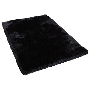 Plush Black Rectangular Rug, 160x230 cm
