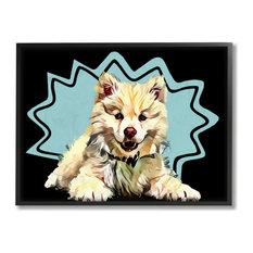 Happy Japanese Spitz Fluffy Dog Pop Art Pet16x20
