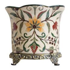 Chinoiserie Floral Porcelain Planter Orchid Pot Antiqued Brass Accent