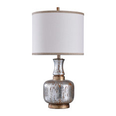 Eirian Table Lamp, Antique Silver & Copper Body, White Shade