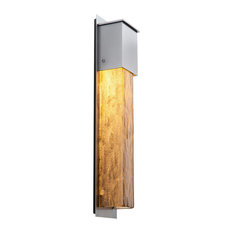 Outdoor Tall Square Cover Sconce, Textured Black, Bronze Granite