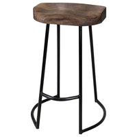 Gavin Sculpted Counter Stool, Solid Acacia Seat and Black Wrought Iron Base