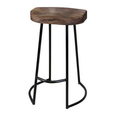Gavin Sculpted Counter Stool Solid Acacia Seat And Black Wrought Iron Base