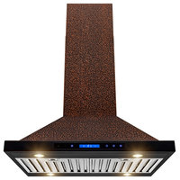 "AKDY 30"" Island Mount Range Hood Embossed Copper Touch Control for Kitchen"