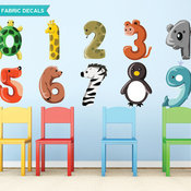 Animal Numbers Fabric Wall Decals, Set Includes 0 to 9, Size Large