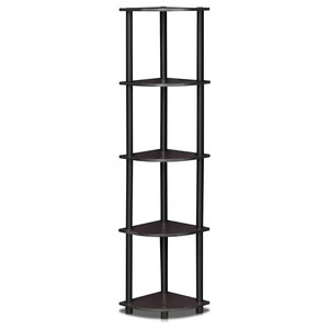 99811Dwn 5 Tier Corner Display Rack Multipurpose Shelving Unit, Dark Walnut