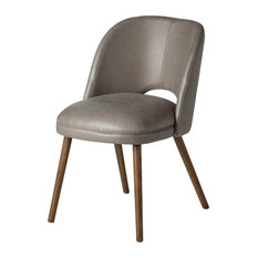 Midcentury Modern Barrel Backed Dining Chair, Gray Leather
