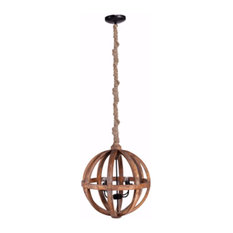 Wood Cutout Sphere Chandelier With Rope Hanger, Brown