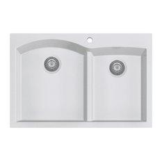 """ALFI brand AB3320DI-W White 33"""" Double Bowl Granite Composite Kitchen Sink"""