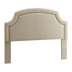 Benzara Wood And Fabric Full Queen Size Headboard With Scalloped Edges Beige
