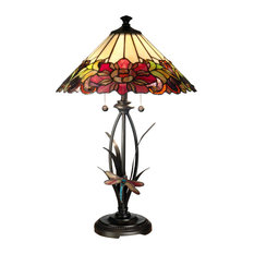 Dale Tiffany 2 Light Floral With Dragonfly Tiffany Table Lamp In Antique Bronze