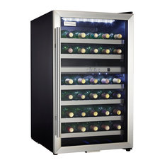 38-Bottle Wine Cooler-Black Cabinet With Stainless Steel Door Frame