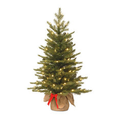National Tree Company - 3' Feel Real Nordic Spruce Tree in Burlap Base, LED Light - Christmas Trees
