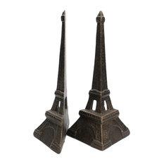 Eiffel Tower Bookends, Cast Iron, Bronze