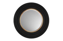 "Round Black with Gold Beveled Mirror, 27"" Diam"