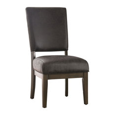 Leatherette Side Chair With Floor Protectors Set of 2 Brown by Benzara Woodland Imprts The Urban Port