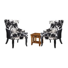 3 Piece Cozy Nook Set with End Table and (Set of 2) Cowhide Print Accent Chair