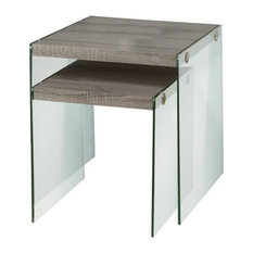 Pemberly Row 2 Piece Glass Nesting Table Set in Dark Taupe by Pemberly Row
