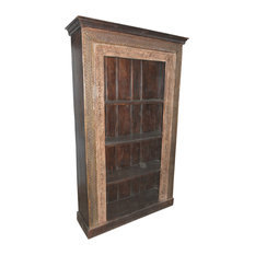 Mogul Interior - Consigned Hand-Carved Antique Indian Bookcase With Traditional Carvings - Bookcases