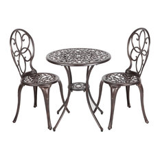Antique Bronze Cast Aluminum 3 Piece Bistro Set, Arria