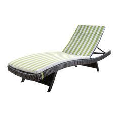 GDF Studio Savana Outdoor Wicker Lounge With Cushion, Green/White Stripes