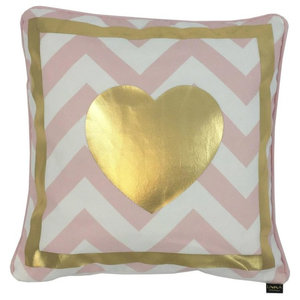 Heart Metallic Cushion Cover, Gold and Pink Stripes