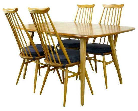 Mid Century Modern Ercol Dining Set With 4 Ercol Goldsmith Chairs