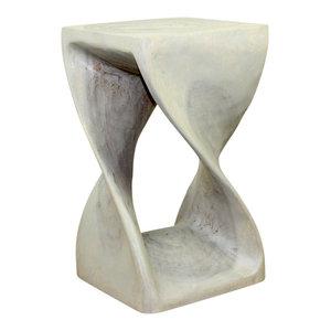 Haussmann® Original Wood Twist Stool 12 X 12 X 20 In High Grey Oil