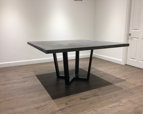 1.5 Metre Square Micro-Cement Polished Concrete Dining Table in Charcoal Grey - Products