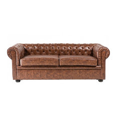 Chesterfield Brown Genuine Leather Tufted Loveseat