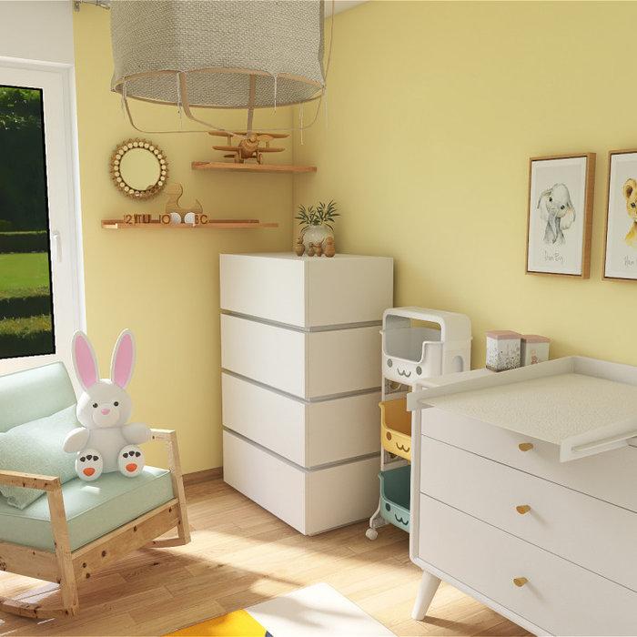 Transformation d'une petite chambre d'ami bureau en chambre de bébé