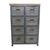 Emerald Home Grant 8-Drawer Accent Cabinet, Aged Metal