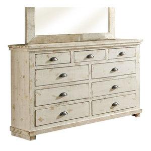 Progressive Willow 7 Drawer Dresser in Distressed White