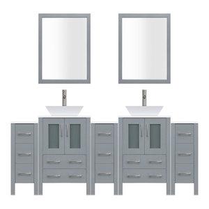 "84"" Modern Bathroom Vanity Set, Mirror and Sink LV2-C19-84-G, Gray"