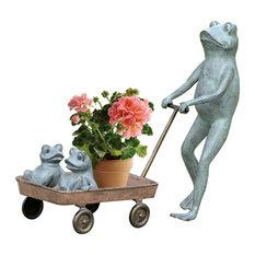 Frog Family With Wagon Planter Aluminum Garden Sculpture
