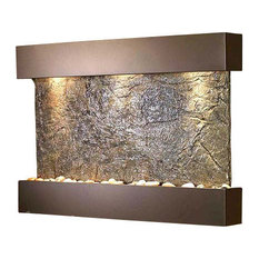 Reflection Creek Wall Fountain with Antique Bronze Trim and Green Slate Surface