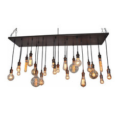 Rustic Edison Bulb Chandelier, Dark Walnut, Oil Rubbed Bronze, Suspended