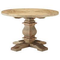 Country Cottage Farm Beach House Dining Room Dining Table, Wood, Brown