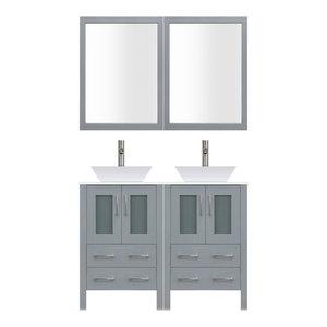 "48"" Modern Bathroom Vanity Set, Mirror and Sink LV2-C10-48-G, Gray"