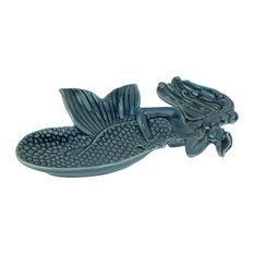 Coastal Blue Sculpted Ceramic Mermaid Dish