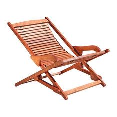 Outdoor Wood Reclining Folding Lounge