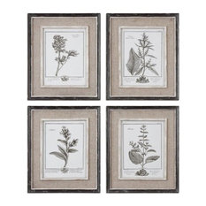 Set of 4 Wall Art Prints Surrounded by Tan Burlap Mats Gray Taupe Home Decor