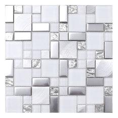 """White Gray Metal Glass Mosaic Kitchen Backsplash Tile, 12""""x12"""""""