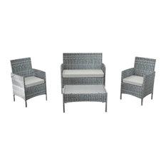 Outdoor Rattan Wicker 4-Piece Sectional Set, Gray