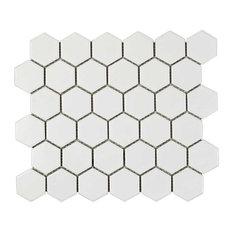 "2"" Hexagon Mosaic Tile, Matte White"