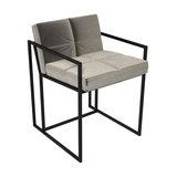 Federico Dining Chair, Mushroom Velvet, Black Frame