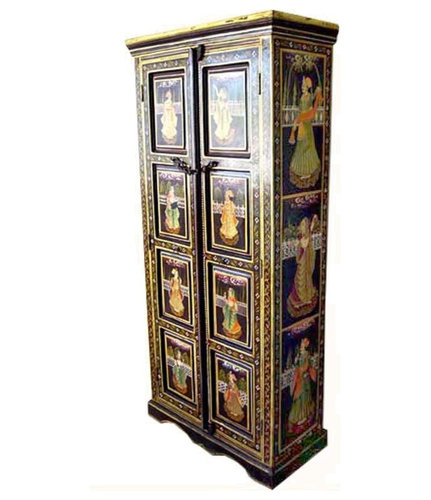 Beautiful Ethnic Wood Storage Hand Painted Armoire Closet Furniture    Armoires And Wardrobes