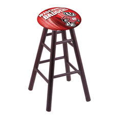 Oak Counter Stool Dark Cherry Finish With Wisconsin -inchBadger-inch Seat 24-inch