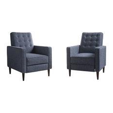 GDFStudio   Marston Mid Century Modern Fabric Recliner, Set Of 2, Dark Blue