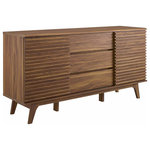 """Modway - Render 63"""" Sideboard Buffet Table or TV Stand Walnut - Tap into mid-century aesthetics with the Render Sideboard Buffet Display Stand. This dining room buffet table features a durable particleboard frame with smooth walnut grain laminate, four tapered wood legs, an adjustable shelf on both sides, three center full-extension glide drawers, and two sliding doors for easy access to shelf storage. Render features an abundance of storage for your silverware, dishes, and other dining room finery. Boasting a mid-century modern style this accent table features a solid construction with a pleasing look and practical functionality. Perfect as a sideboard, credenza, storing and serving buffet table, and display stand, Transmit also accommodates flat-screen TVs up to 70� wide as a living room or lounge area TV stand."""